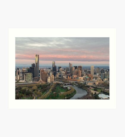 Aerial view of Melbourne, Australia at dawn Art Print