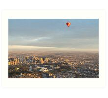 Aerial view of Melbourne, Australia with balloon Art Print