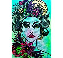 Girl with Flowers Photographic Print