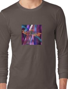 Dragonfly In Orange and Blue Long Sleeve T-Shirt