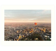 Hot air balloon over Melbourne, Australia Art Print
