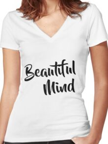 Beautiful Mind Women's Fitted V-Neck T-Shirt