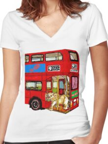 Elephant Bus Women's Fitted V-Neck T-Shirt