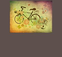 Bicycle and Floral Ornament Grunge Unisex T-Shirt
