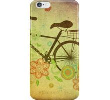 Bicycle and Floral Ornament Grunge iPhone Case/Skin