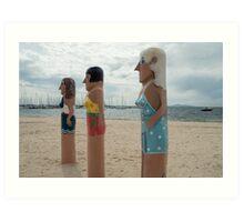 Bollard statues in Geelong, Australia Art Print