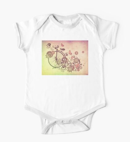 Bicycle and Floral Ornament Grunge 2 One Piece - Short Sleeve