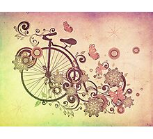 Bicycle and Floral Ornament Grunge 2 Photographic Print