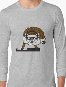 dj party mischpult disko club sonnenbrille cool kopfhörer funky auflegen musik tanzen comic cartoon süßer kleiner niedlicher igel  Long Sleeve T-Shirt