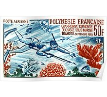 1965 French Polynesia Spearfishing Postage Stamp Poster