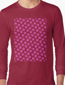 Dumbbellicious PINK GREY Long Sleeve T-Shirt