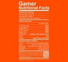 Gamer Nutritional Facts Kids Tee