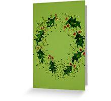 Green Xmas wreath Greeting Card