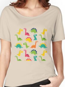 Funny Dinos Pattern Background Women's Relaxed Fit T-Shirt