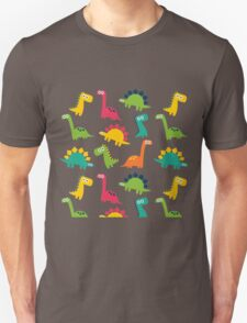 Funny Dinos Pattern Background Unisex T-Shirt
