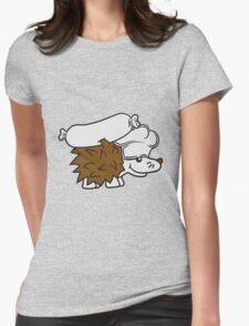 chef koch würstchen grill meister grillen kochmütze essen lecker fleisch stacheln baby comic cartoon süßer kleiner niedlicher igel  Womens Fitted T-Shirt