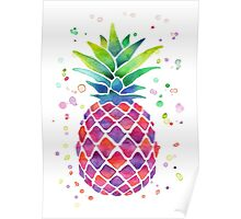 Colourful Watercolour Pineapple! Poster