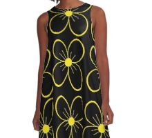 Black and yellow flowers  A-Line Dress