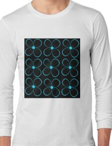 Black and blue flowers Long Sleeve T-Shirt