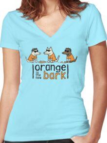 Orange Is The New Bark Women's Fitted V-Neck T-Shirt