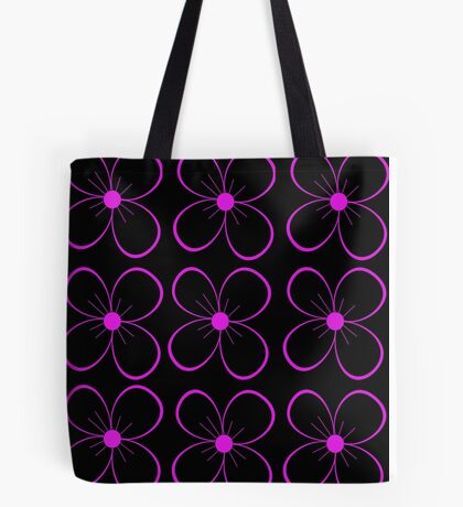 Black and purple flower Tote Bag
