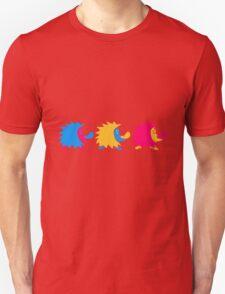 bunt 3 süße kleine niedliche igel wandern team freunde muster design  Unisex T-Shirt