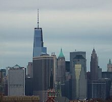 Lower Manhattan Skyline (Panorama) by Gilda Axelrod