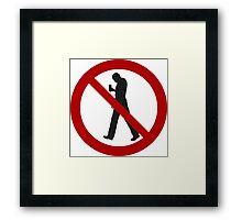 Smartphone Zombies Prohibited Framed Print