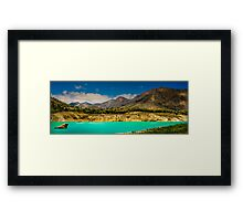 The mountains and the reservoir at Amadorio - Panorama Framed Print