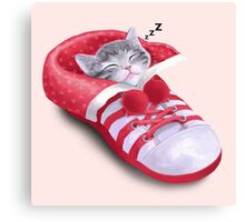Cat in the shoe Canvas Print