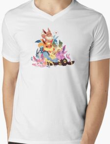 Cute Eevee Pile. Pokemon Mens V-Neck T-Shirt