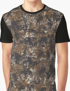 Dark Brown Camouflage Graphic T-Shirt
