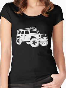 JK Jeep Wrangler Tourer Spec Front 3/4 Apparel | Tee Shirt, Hoodies & More - White Women's Fitted Scoop T-Shirt