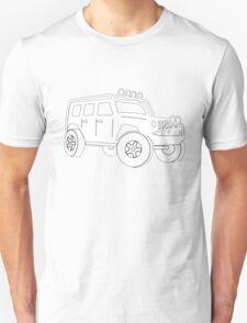 JK Jeep Wrangler Tourer Spec Front 3/4 Apparel | Tee Shirt, Hoodies & More - White Unisex T-Shirt