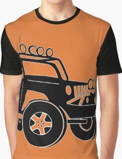 JK Jeep Wrangler Tourer Spec Front 3/4 Apparel | Tee Shirt, Hoodies & More - Black Graphic T-Shirt
