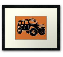 JK Jeep Wrangler Tourer Spec Front 3/4 Apparel | Tee Shirt, Hoodies & More - Black Framed Print