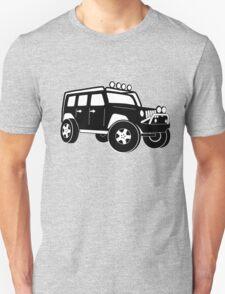 Jeep Wrangler Sticker / Decal - Front 3/4 Touring Design - Black Unisex T-Shirt
