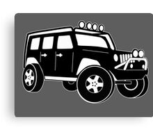 Jeep Wrangler Sticker / Decal - Front 3/4 Touring Design - Black Canvas Print