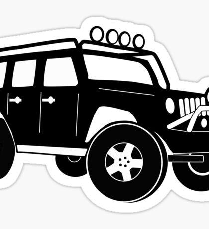Jeep Wrangler Sticker / Decal - Front 3/4 Touring Design - Black Sticker