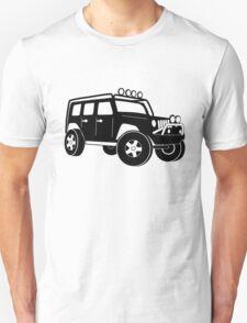 JK Jeep Wrangler Tourer Spec Front 3/4 Apparel | Tee Shirt, Hoodies & More - Black Unisex T-Shirt