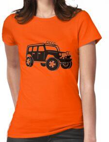 JK Jeep Wrangler Tourer Spec Front 3/4 Apparel | Tee Shirt, Hoodies & More - Black Womens Fitted T-Shirt