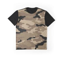 Brown Woodland Camo Pattern Graphic T-Shirt