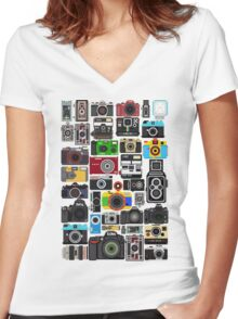 Pixelated Camerass Women's Fitted V-Neck T-Shirt