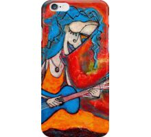 Guitar girl with blue hair iPhone Case/Skin