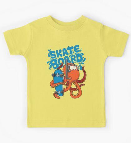 skater octopus character design Kids Tee