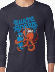 skater octopus character design Long Sleeve T-Shirt