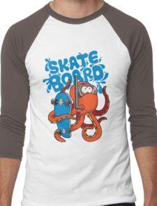 skater octopus character design Men's Baseball ¾ T-Shirt