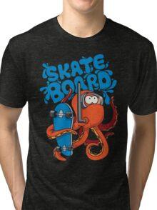 skater octopus character design Tri-blend T-Shirt