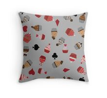 Deck Of Cards Cup Cakes grey Throw Pillow