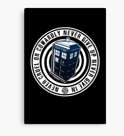 Never Cruel Or Cowardly - Doctor Who - Blue TARDIS Canvas Print